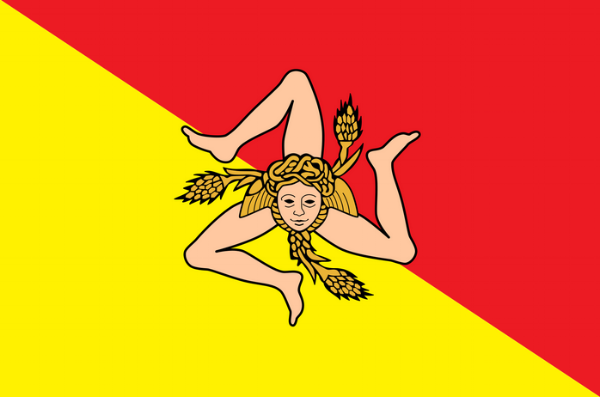 The Sicilian   flag  is characterized by the presence of the triskelion (trinacria) in its middle, the (winged) head of Medusa (Gorgon) and three wheat ears. The three bent legs allegedly represent the three points of the triangular shape of the island of   Sicily  , or the historical three valli of the island.