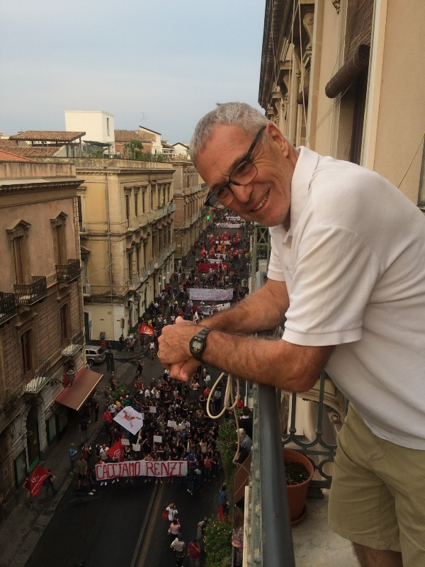 Michael was pretty excited about our birds-eye view of the protests.