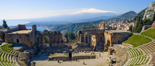 The view we didn't see in Taorimina - the coliseum and Mt. Etna in the distance.