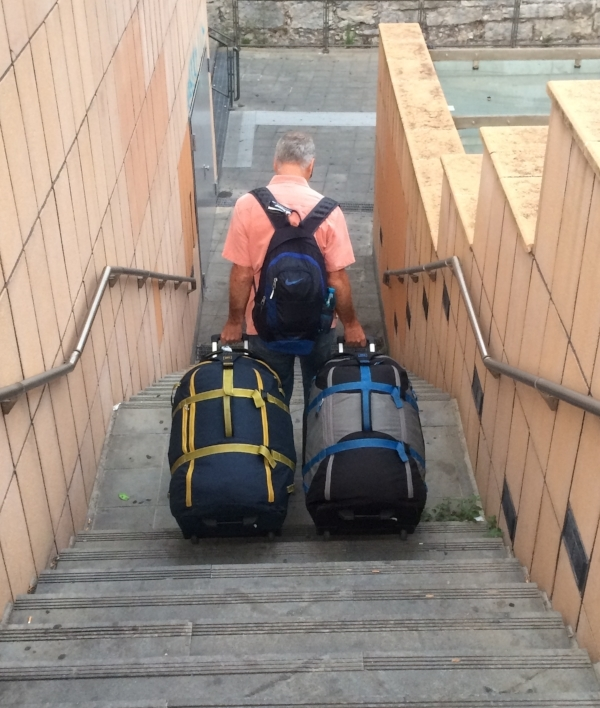 What goes up, must come down! Everywhere we've been there have been stairs and cobbled streets - hard on us, but notour REI super-suitcases!