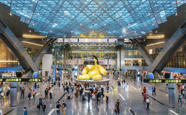 The bustling Doha airport offers distraction twenty four hours a day