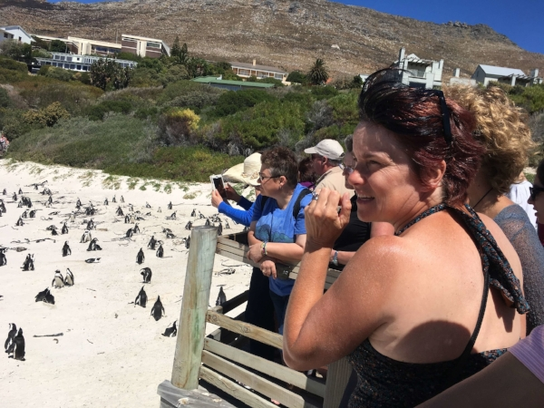 Our new friend Judy and about 1,000 penguins, matched by an equal number of tourists.
