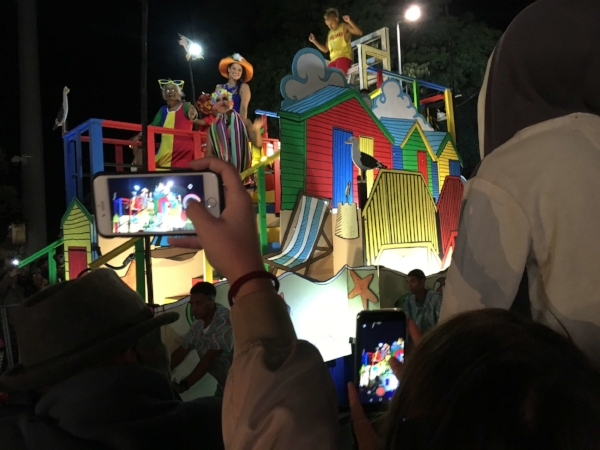 If you wanted a shot of the carnival you had to push into the forest of phones in the air! It was a fun night out and just down the road from our Airbnb.