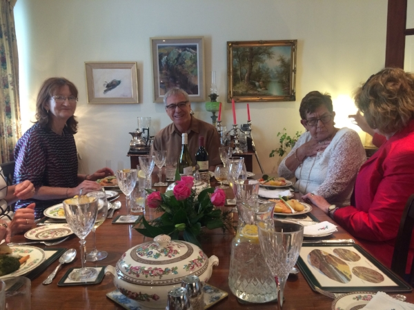 Michael holding court at a luncheon in our honor at our Galway, Ireland's host Irene's Mother-in-Laws home. It was a classic gathering of the towns finest ladies over G&T's and smoked salmon