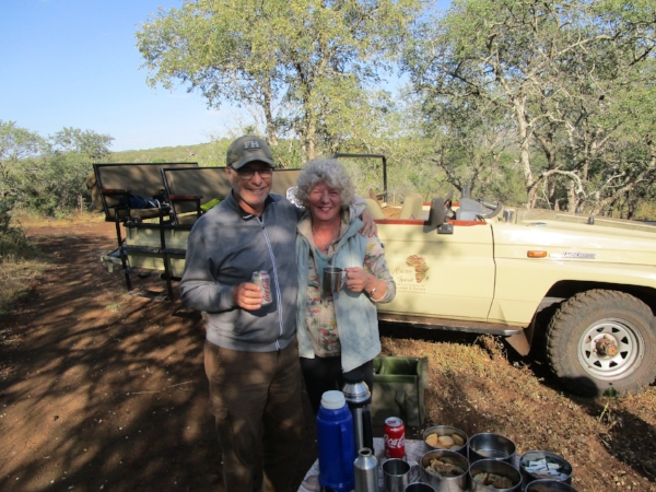 """Morning coffee break. There were times Michael and I had our guides to ourselves - that made for some very custom """"game hunting"""" and-one-on one learning about the wildlife."""