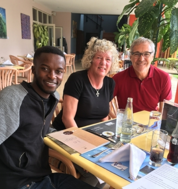 Our delightful new friend Gadi. We are having lunch at the infamous Hotel Des Mille Collines.
