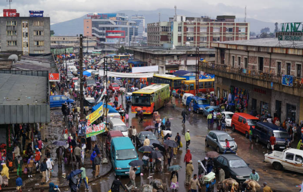 This shot of Addis Abiba is a typical city scene - although every place looks worse in the rain.