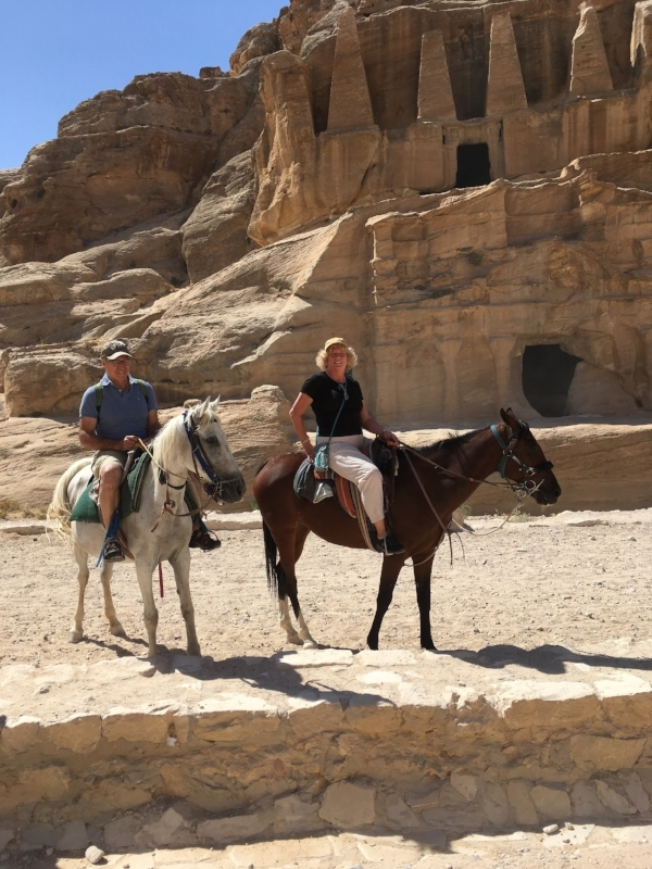 We've used many different forms of transportation, but this was a first (and I mean that for Michael). On horseback in Petra, Jordan.
