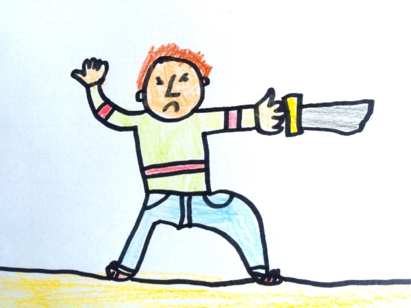 Our six year old granddaughter Colette's drawing could easily represent Grandpa Michael slaying the numbers.