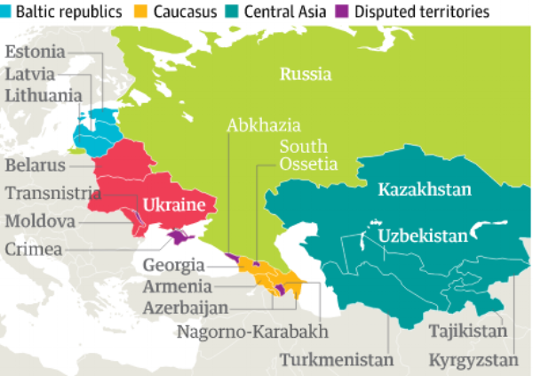 This map shows all 15 republics that were part of the former Soviet Union.