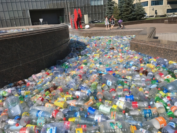 As part of Expos theme around renewable energy Astana filled many of its fountains with discarded plastic bottles to emphasis the importance of recycling