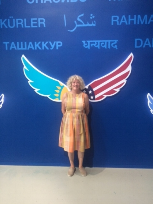 Debbie stretched her wings at the US Pavilion.