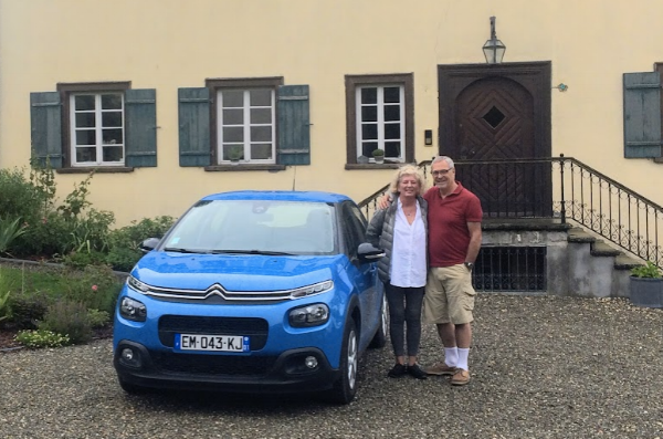 Our little Blue Meany at our first stop in Eigeltingen, Germany.