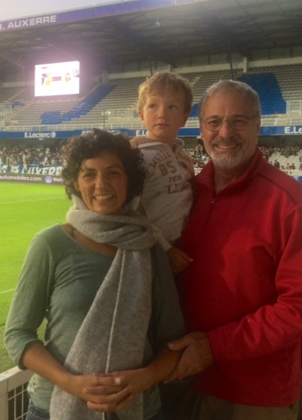 Grandpa and Mary took Marcel to his first football match in Auxerre. Marcel is now an avid soccer player and loves to play goalie!
