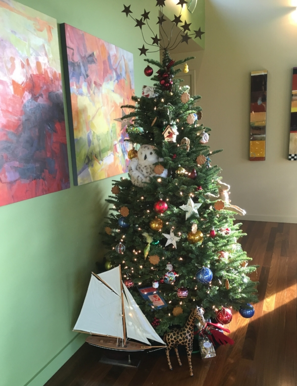 """This year's Christmas tree is all ready to welcome friends and family while we are """"home""""."""