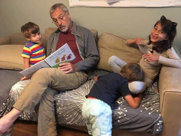 Michael doing his best to corral the next generation of readers!