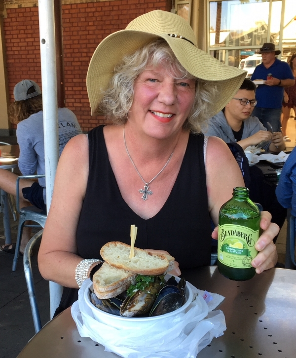 Birthday lunch of mussels and my new favorite beverage at the Victoria Market in Melbourne