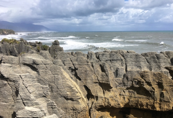 These are the famous Pancake Rocks near Punakaiki. The blowholes and pounding surf were fun to watch, especially at high tide.