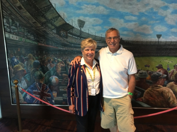Michael and his volunteer tour guide at the MCG. She is sporting her coveted member's blazer and has been giving tours of this venerable club for 27 years.