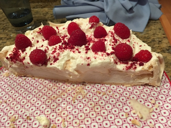 By the time I realized I hadn't take a picture of Donna and Warwick's fabulous dinner, all that was left was half the Pavlova. It was one the finest things I've ever eaten. The secret was the sprinkling of crushed freeze-dried raspberries along with the fresh ones.