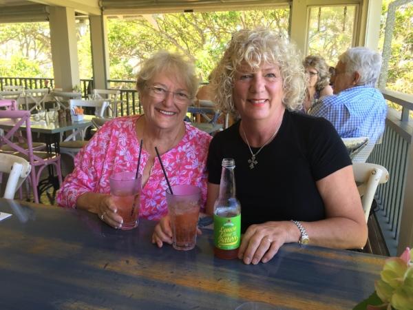 Ann and I enjoying my new favorite drink - Lemon, Lime & Bitters at Burnt Orange.