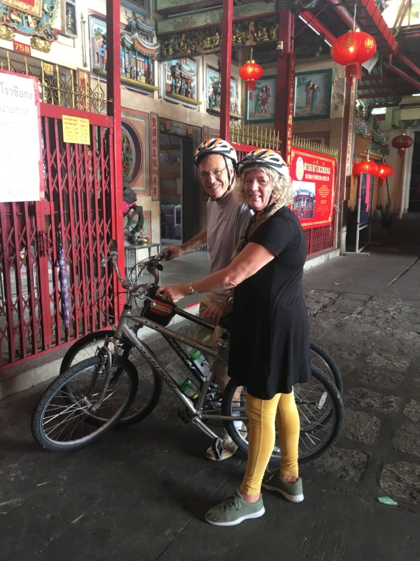 """Our bike tour of Bangkok was really """"exhilarating"""" not to be confused with fun. Although it did give us a great look at the backstreets of the city and a glimpse at the daily lives of people who choose to risk life and limb to get around this way!"""