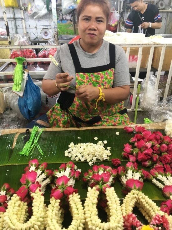 Where have all the flowers gone? To the Bangkok flower market to be made into thousands of Phuang Malai garlands to be given as gifts, draped on Spirit Houses, hung over rearview mirrors, and placed anywhere else a bit of good luck couldn't hurt.