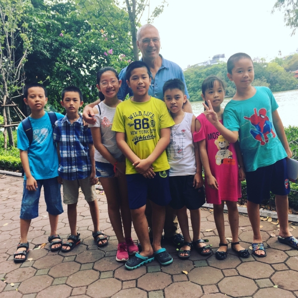 Michael was happy to be swarmed by a class of adorable ten-years olds who wanted to practice their English. We learned the lake was a common place for students of all ages to seek tourists out to practice conversations with for a few minutes. It was enjoyable for both of us.