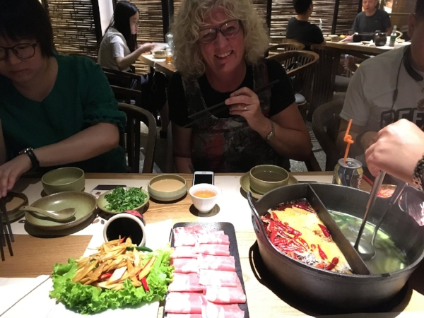 Going all in for Hot Pot (Asian Fondue). It was a blur of chopsticks as we fought for the broth.