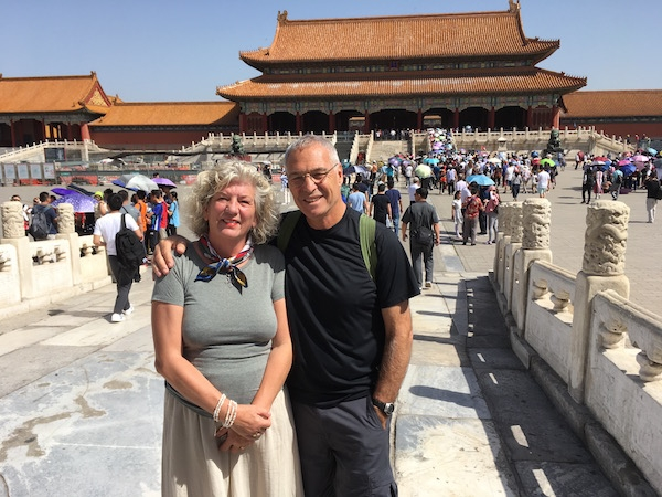 Out and about in Beijing. Here we are at the entrance of the Forbidden city.