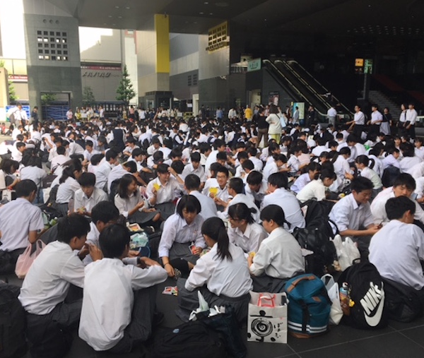 Just one of many school groups stranded at the station.