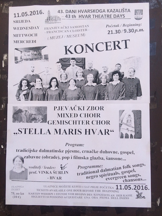 This was a fabulous concert we would have never found on the internet. We take a lot of pictures of event posters and schedules and other info and then delete as we go.