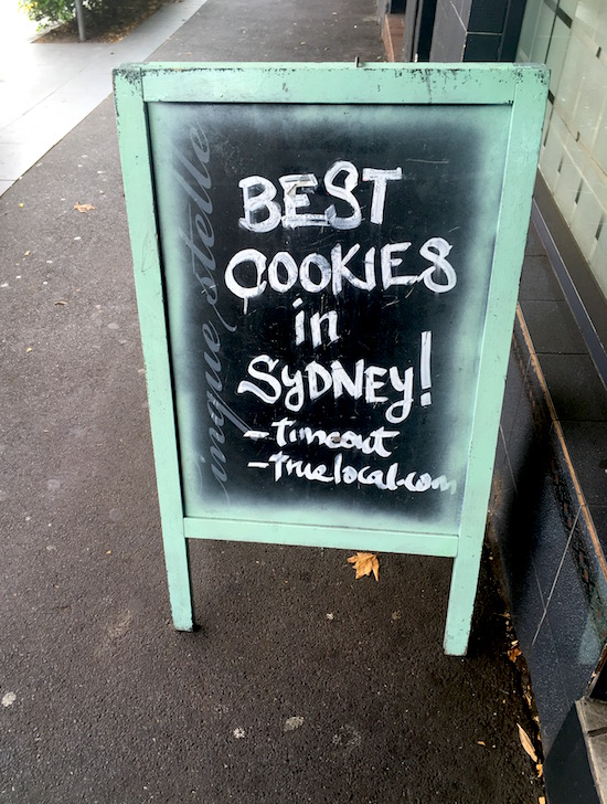 if I hadn't taken this picture we might have missed the best cookies in Sydney!