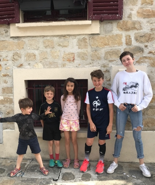 All five grandchildren in one place during a trip to France for a recent cousin reunion! The three French kids are on the left ages 4,6 and 8. Americans on the right ages 11 and 13.