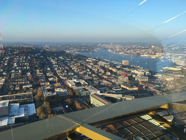 The view towards South Lake Union from the newly refurbished Space Needle.