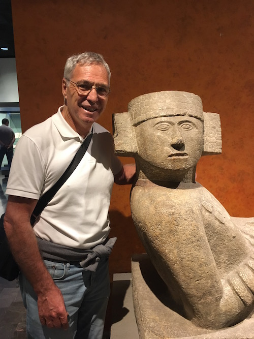 "Michael saying hello to an ""old friend"" at the National Museum of Anthropology. A place where you could get lost in time for an entire day."