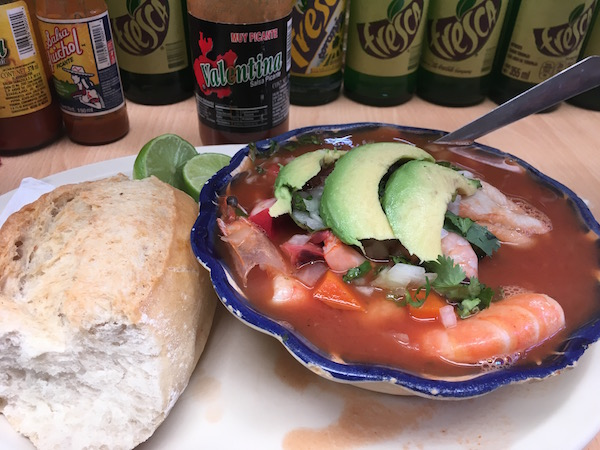 Lunch with Pau at the sprawling Hidalgo Mercado included Sopas De Mariscos - fish soup with everything.