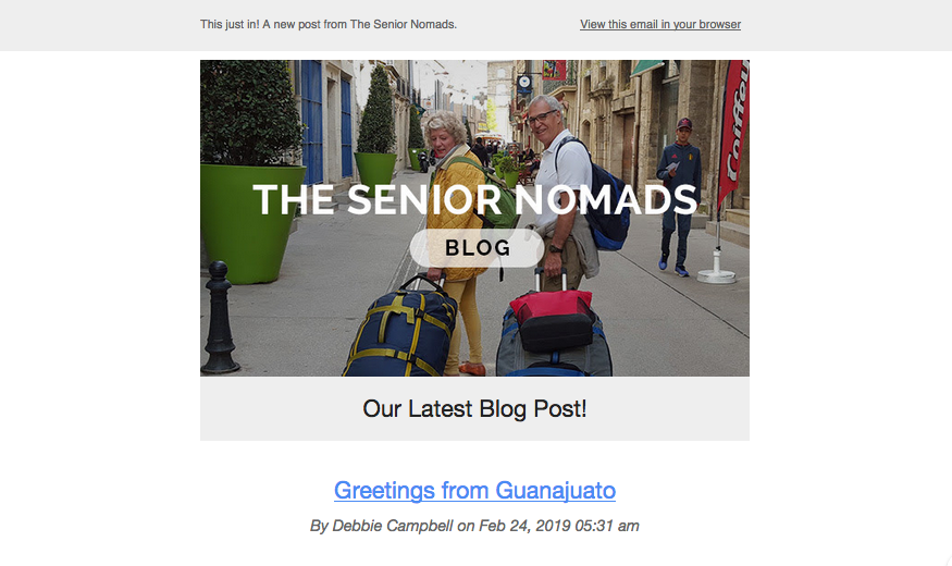 You will no longer see the pill-shaped button in the image that said BLOG. That was the culprit. We can always be found at www.seniornomads.com. And don't hesitate to reach out by email at  seniornomadsineurope@gmail.com  any time. Michael or I will always respond.