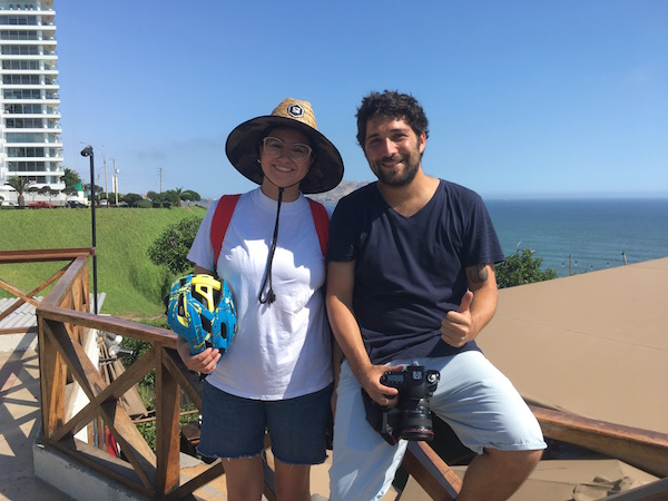 We were interviewed by Lima's most prominent newspaper,  El Comercio  while were in town. This is Maya, our contact at Airbnb's PR agency and her sidekick Carlos, who took photos of our cycling adventures.