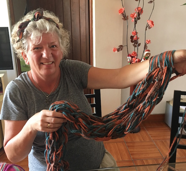 One afternoon I stepped off the tourist track and took a different sort of Airbnb Experience. I learned how to  Arm Knit a Scarf  using Alpaca wool. My young instructor Brenda had challenges since her English was rusty and I am left handed - but we had a great time, and I now have a useful souvenir.