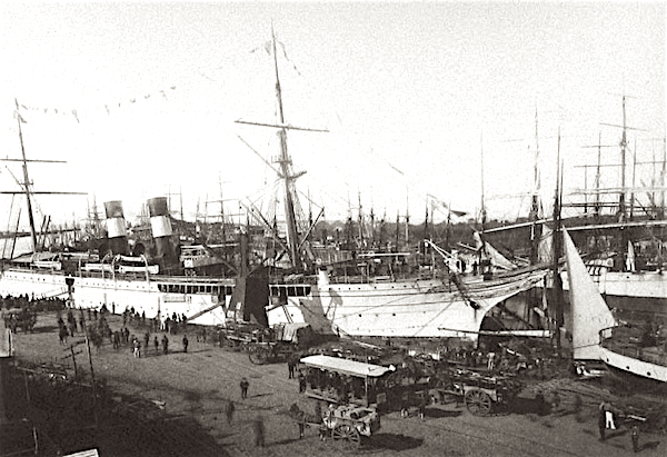 The Harbor in La Boca in 1901. La Boca became home to thousands of immigrants living in tenement conditions gave birth to three mainstays of Argentinian life: Football, Tango and Protests.
