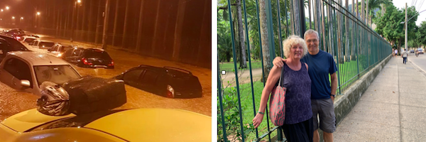 Just 48 hours between photos taken on the same street in front of the Botanical Gardens in Leblon.