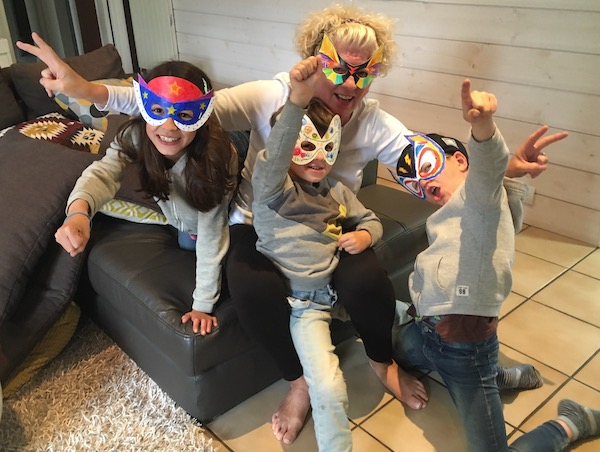 Overnight fun with the Masked Munchkins. We stay up late and eat candy. Don't tell Mom and Dad.