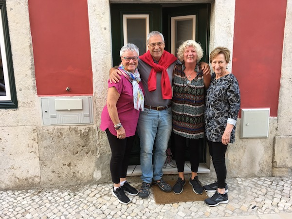 Michael surrounded by women with wanderlust - ReAnn, myself and Joyce.