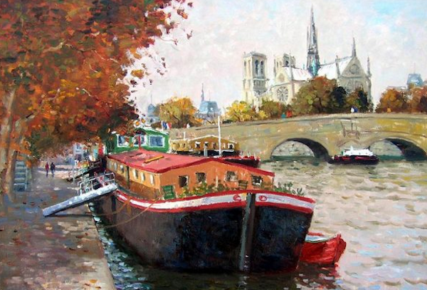 Our barge was not quite as romantic as this one painted by Roelof Rossouw