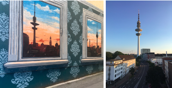 The view of the iconic TV tower painted on the side of the building, and our actual view out the window.