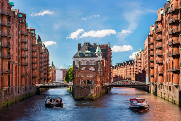 Hamburg is a beautiful city filled with historic buildings, lots of green spaces, and water, water everywhere.