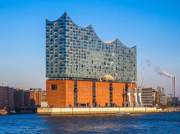 The infamous Elbphilharmonie. If you can't get a ticket for a performance, you can also be wait-listed for a tour. Those are booked two to three weeks in advance. But on any given day you can watch the busy harbor from the observation deck just above the brick level - and dine in the very cool restaurant. There is also a Westin Hotel located on the upper floors.