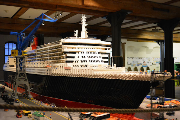 Michael's favorite piece from the maritime museum was this scale model of the Queen Elizabeth II made from Lego bricks.
