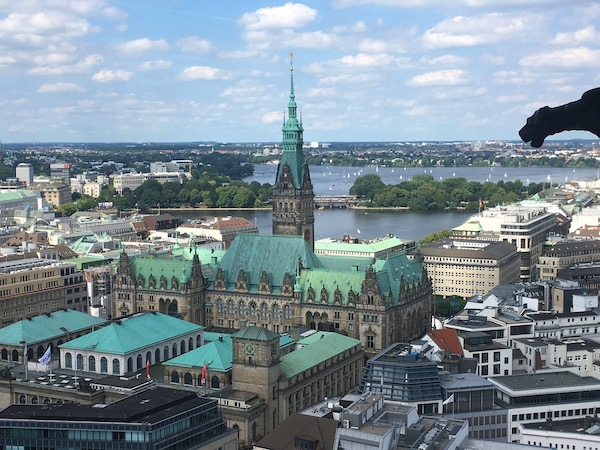 Hamburg today from the observation deck at St. Nikolai church.